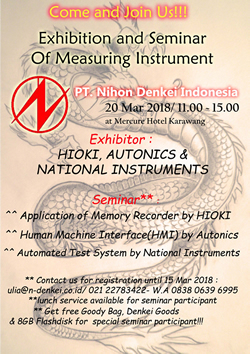 20th March 2018 Exhibition and Seminar of MEASURING INSTRUMENT at